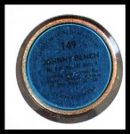 1971 Topps Coins #149  Johnny Bench  Back Thumbnail