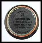 1971 Topps Coins #73  Gaylord Perry  Back Thumbnail