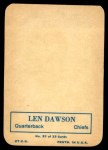 1970 Topps Glossy #27  Len Dawson     Back Thumbnail