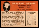 1961 Fleer #12  Max Carey  Back Thumbnail