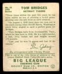 1934 Goudey #44  Tommy Bridges  Back Thumbnail
