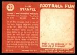 1958 Topps #39  Dick Stanfel  Back Thumbnail