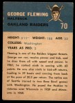 1962 Fleer #70  George Fleming  Back Thumbnail