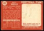 1958 Topps #49  Billy Wells  Back Thumbnail