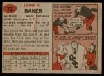 1957 Topps #72  Sam Baker  Back Thumbnail