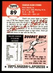 1953 Topps Archives #89  Chuck Stobbs  Back Thumbnail