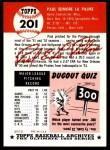 1953 Topps Archives #201  Paul LaPalme  Back Thumbnail
