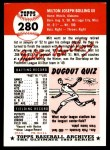 1953 Topps Archives #280  Milt Bolling  Back Thumbnail