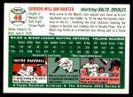 1954 Topps Archives #48  Billy Hunter  Back Thumbnail