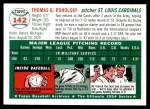 1954 Topps Archives #142  Tom Poholsky  Back Thumbnail