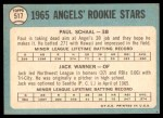 1965 Topps #517   -  Paul Schaal / Jack Warner Angels Rookies Back Thumbnail