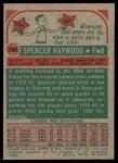 1973 Topps #120  Spencer Haywood  Back Thumbnail