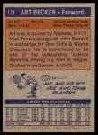 1972 Topps #178  Art Becker   Back Thumbnail