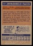 1972 Topps #137  Jim McDaniels   Back Thumbnail