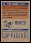 1972 Topps #136  Dick Snyder   Back Thumbnail