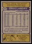 1979 Topps #487  Greg Landry  Back Thumbnail