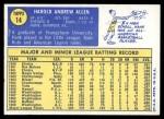 1970 Topps #14  Hank Allen  Back Thumbnail
