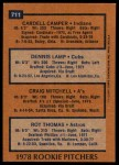 1978 Topps #711   -  Cardell Camper / Dennis Lamp / Craig Mitchell / Roy Thomas Rookie Pitchers   Back Thumbnail