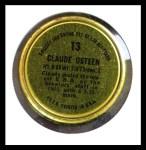 1964 Topps Coins #13   Claude Osteen   Back Thumbnail