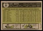 1961 Topps #84  Lee Maye  Back Thumbnail