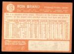 1964 Topps #326  Ron Brand  Back Thumbnail