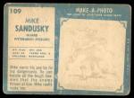 1961 Topps #109  Mike Sandusky  Back Thumbnail