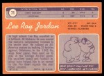 1970 Topps #71  Lee Roy Jordan  Back Thumbnail