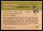 1961 Fleer #59  John Brodie  Back Thumbnail