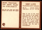 1967 Philadelphia #138  Dave Lloyd  Back Thumbnail