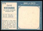 1961 Topps #173  Dave Kocourek  Back Thumbnail