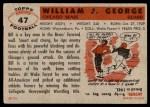 1956 Topps #47  Bill George  Back Thumbnail