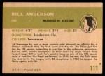 1961 Fleer #111  Bill Anderson  Back Thumbnail