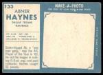 1961 Topps #133  Abner Haynes  Back Thumbnail