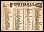 1959 Topps #91   Redskins Team Checklist Back Thumbnail