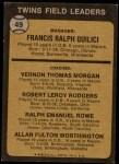 1973 Topps #49 BRN  -  Frank Quilici / Vern Morgan / Bob Rodgers / Ralph Rowe / Al Worthington Twins Leaders Back Thumbnail