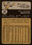 1973 Topps #25  Roy White  Back Thumbnail