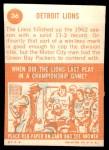 1963 Topps #36   Lions Team Back Thumbnail