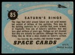 1957 Topps Space Cards #85   Saturn's Rings  Back Thumbnail