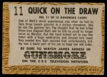 1958 Topps TV Westerns #11   Quick on the Draw  Back Thumbnail