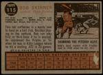 1962 Topps #115 GRN Bob Skinner  Back Thumbnail