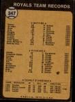 1973 Topps #347   Royals Team Back Thumbnail