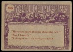 1959 Topps / Bubbles Inc You'll Die Laughing #16   Wait till I try Back Thumbnail