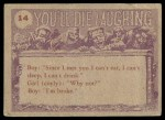 1959 Topps / Bubbles Inc You'll Die Laughing #14   What do you mean Back Thumbnail