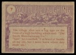 1959 Topps / Bubbles Inc You'll Die Laughing #7   Doc those hair growing pills Back Thumbnail