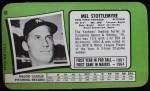 1971 Topps Super #10  Mel Stottlemyre  Back Thumbnail