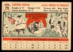 1956 Topps #79  Sandy Koufax  Back Thumbnail