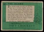 1956 Topps Davy Crockett Green Back #50   The Alamo   Back Thumbnail