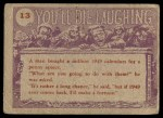 1959 Topps / Bubbles Inc You'll Die Laughing #13   Our next speaker is Back Thumbnail