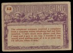 1959 Topps / Bubbles Inc You'll Die Laughing #12   What happened? Back Thumbnail