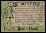 1957 Topps Robin Hood #47   Deadly Duel Back Thumbnail